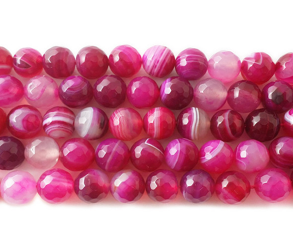 10mm Deep pink striped agate faceted round beads