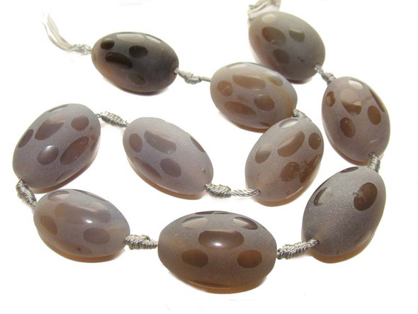 18x28mm  Gray agate matte barrel beads. 10 beads per strand.