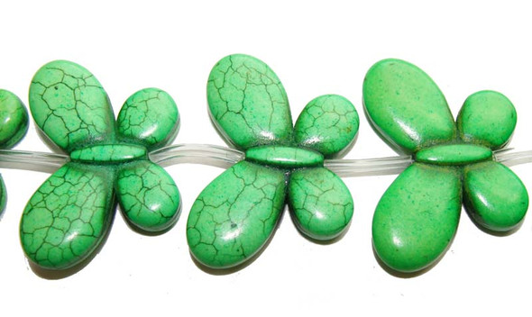 25x35mm 6 Beads Green Howlite Carved Butterfly Beads