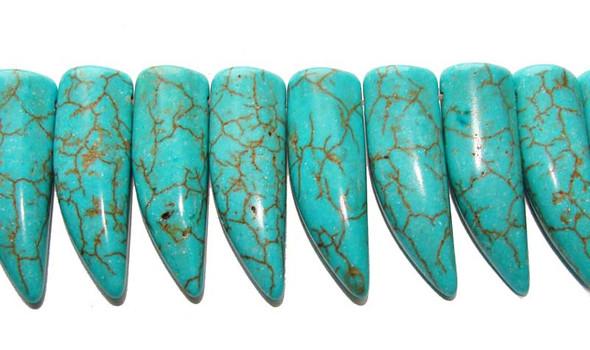 """10x32mm  8"""" strand Howlite/turquoise bullhorn beads"""