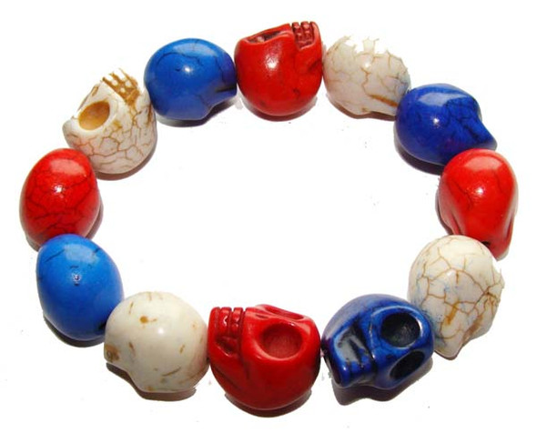 "13x18mm  8"" strand  triple-color Howlite skull beads"