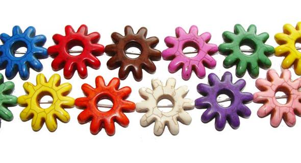 """28mm  16"""" strand  multi-color Howlite flower beads"""