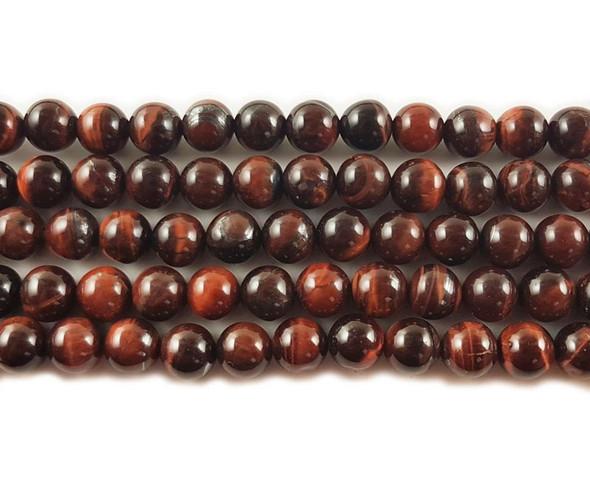 8mm Red tiger eye round beads