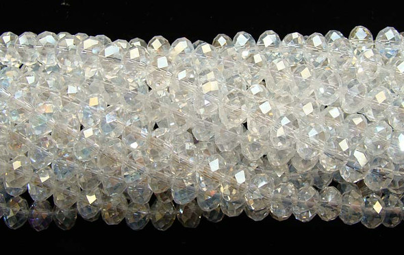 10x12mm  70 beads White glass faceted rondelles with AB finish
