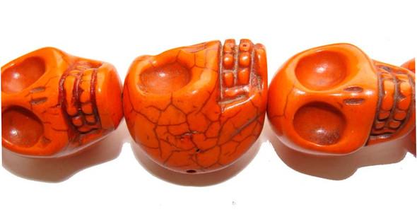 23x30mm Priced For One Piece Orange Howlite Skull Pendant