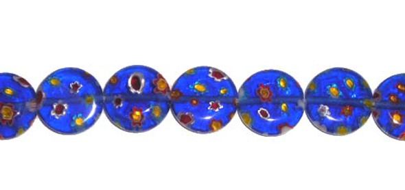10mm Dark Blue Millefiori Glass Coin Beads