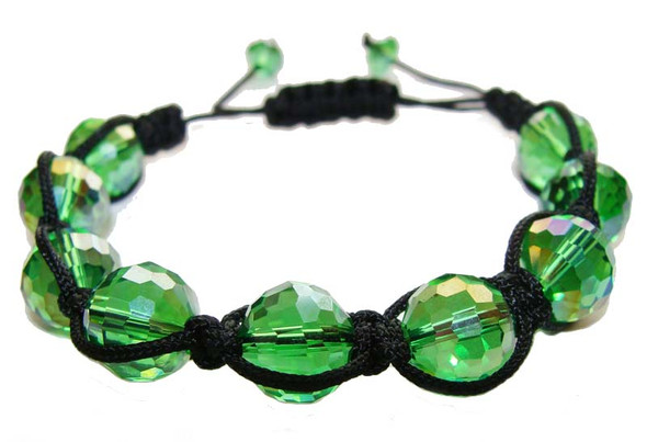 one size fits all  green Shamballa style glass bracelet