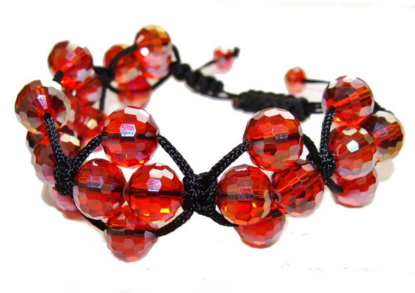 one size fits all Red glass with AB finish bracelet