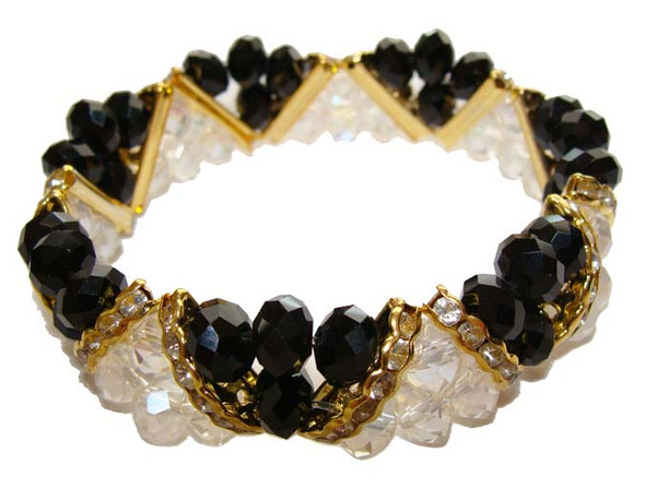7 3/4 - 8 inches  black Fashion glass stretch bracelet