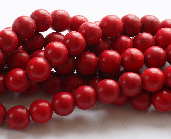 "12mm  15"" strand Red howlite round beads"