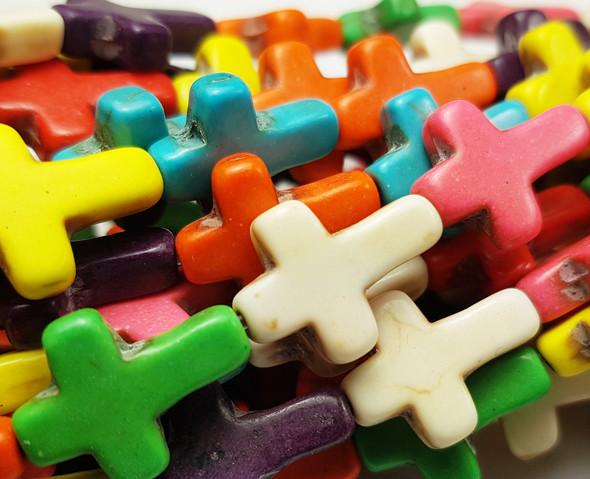 "12x15mm 16"" Strand Multi Color Howlite Cross Beads"