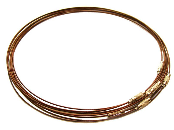 18 inches  dark brown  priced for five necklaces Cable wire round necklace