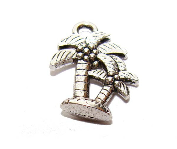 15x18mm  pack of 10 pcs Bali style pewter palm tree charms