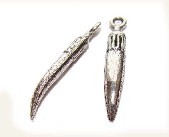 25mm long  pack of 20 pcs Bali style pewter dagger charms