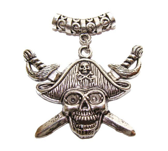 30x45mm Pack Of 2 Antiqued Pewter Pirate Pendant , Pack Of 2.