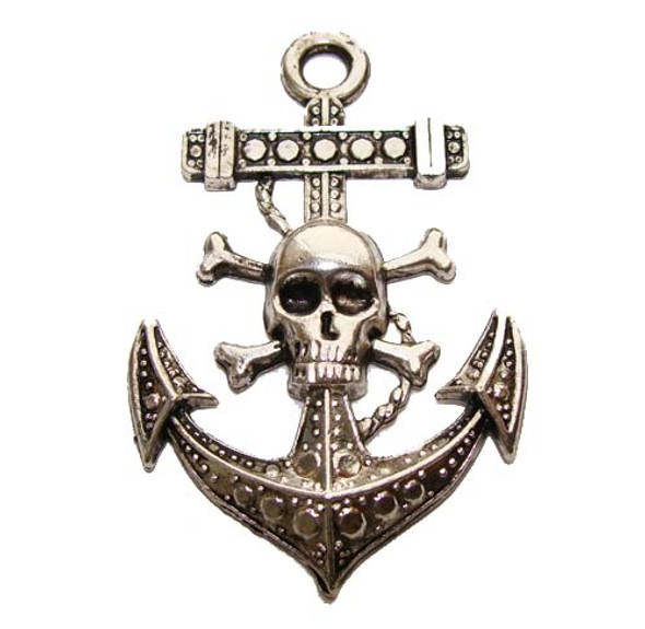 35x50mm Pack Of 2 Antiqued Pewter Pirate Pendant