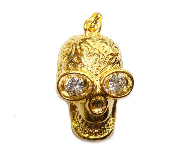 20x30mm Gold-Plated Pewter Skull Pendant