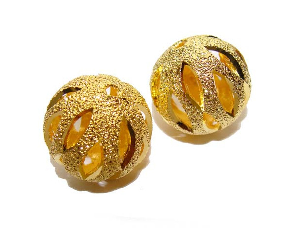 8mm Pack Of 30 Pcs Gold Plated Brass Round Pumpkin Beads