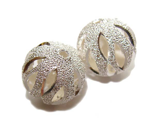 16mm Pack Of 5 Pcs Silver Plated Brass Round Pumpkin Beads