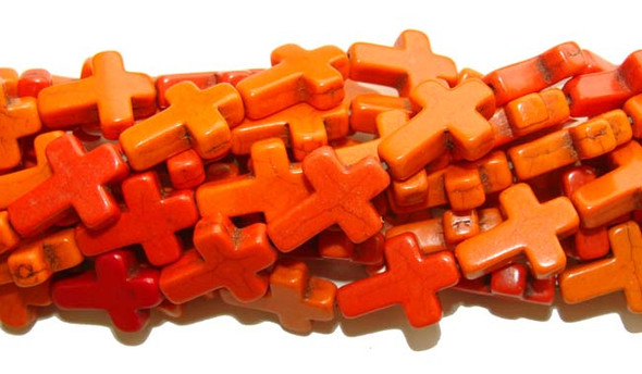 "12x15mm 16"" Strand Orange Howlite Cross Beads"