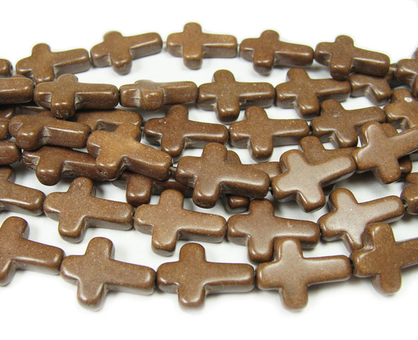 "12x15mm  16"" strand  chocolate Howlite cross beads"