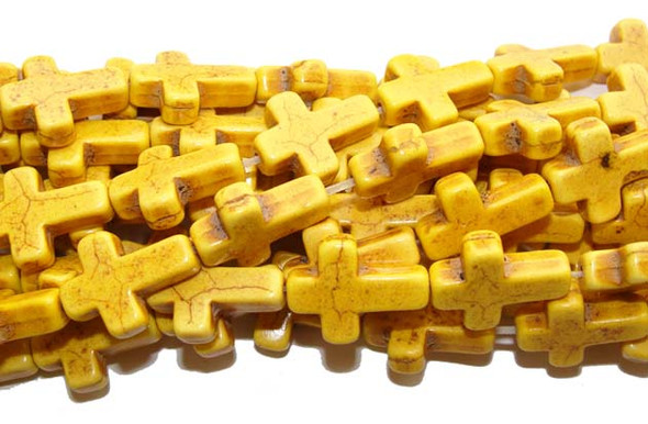 "12x15mm 16"" Strand Yellow Howlite Cross Beads"