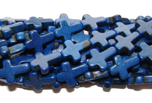 "12x15mm  16"" strand  lapis blue Howlite cross beads"