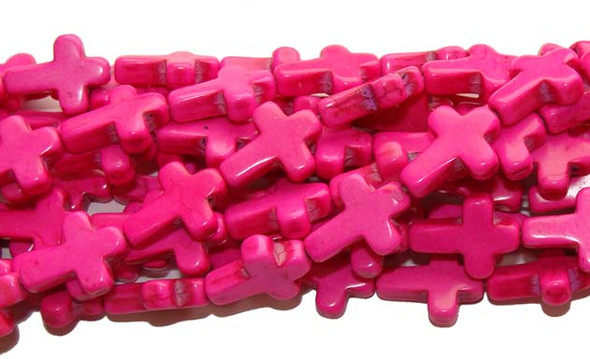 "12x15mm  16"" strand  pink Howlite cross beads"
