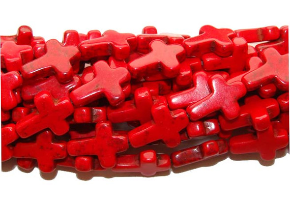 "12x15mm  16"" strand  red Howlite cross beads"