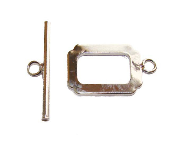 12x17mm 5 Sets Platinum-Plated Brass Rectangle Clasps