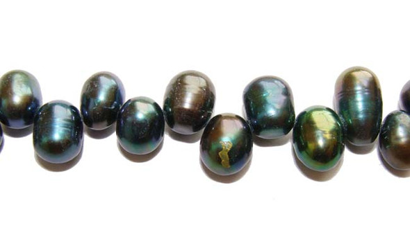 "6x8mm  15"" strand Dark gray teardrop pearls"