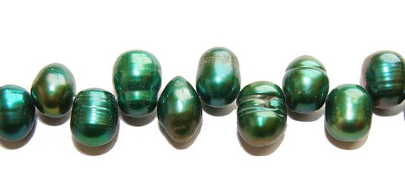 "5x8mm  15"" strand Dark olivegreen teardrop pearls"