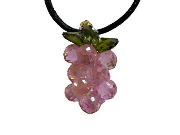25mm Cz Grape Pendant, Pink Color