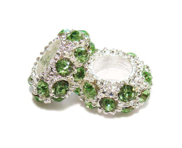 "5x11mm  pack of 6  green Cubic Zirconia ""CZ"" spacer beads"