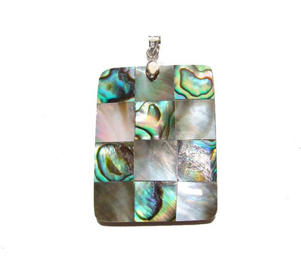 30x40mm Mosaic Abalone And Black Shell Rectangle Pendant