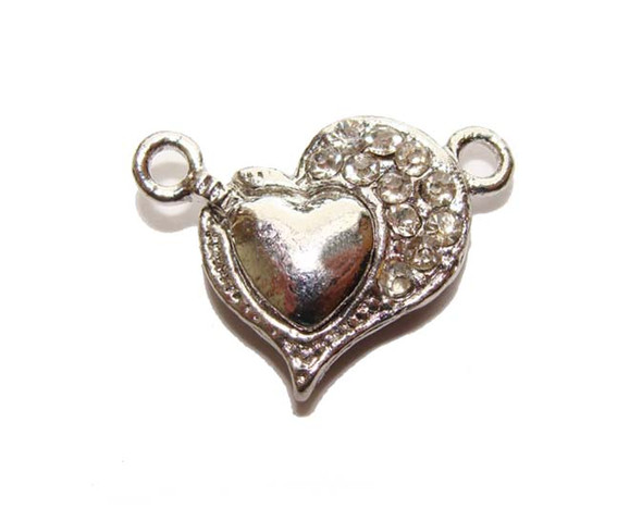 15mm Pack Of 4 Clasps Heart-Shaped Magnetic Clasps With Rhinestones