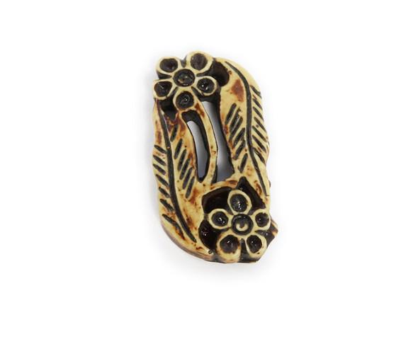 25x46mm Bone-resin carved flower and leaf pendant