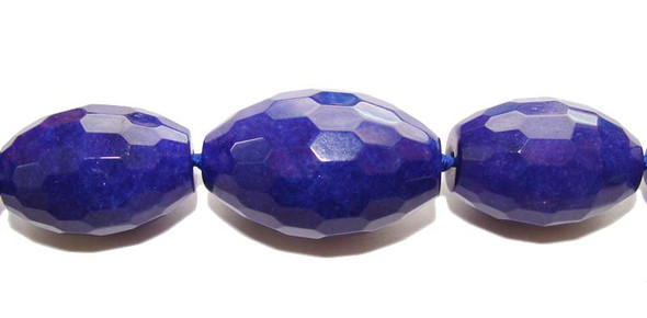10x14mm - 20x30mm Lapis blue dyed Jade faceted graduated barrel beads