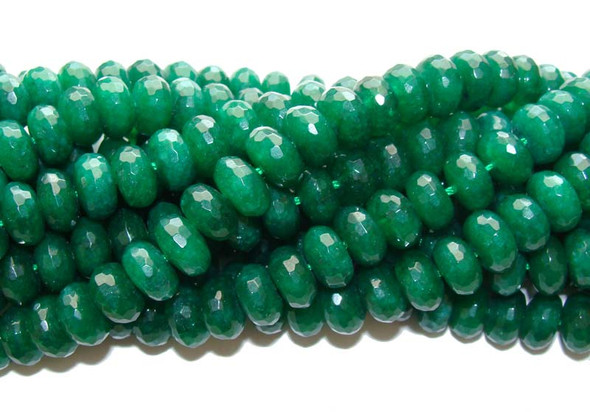 6x10mm Emerald Green Jade Faceted Rondelle Beads