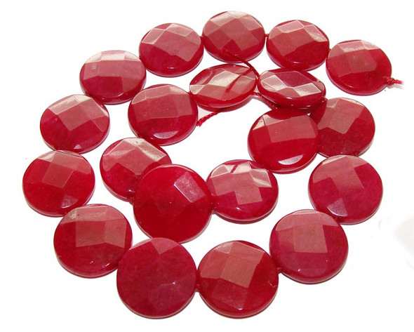 20mm Ruby Jade Faceted Flat Coin Beads