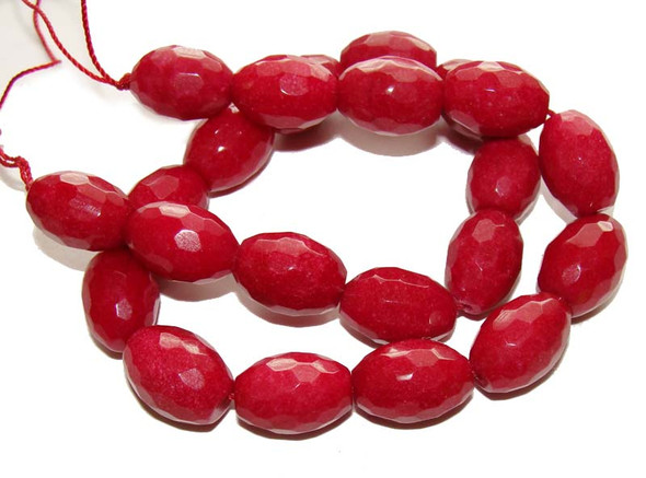 13x18mm Ruby Jade Faceted Barrel Beads