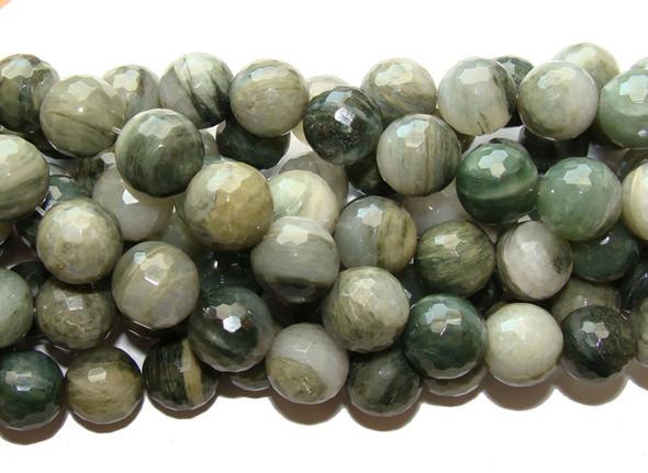 "12mm 16"" Strand Green Rabbit Fur Quartz Faceted Round Beads"