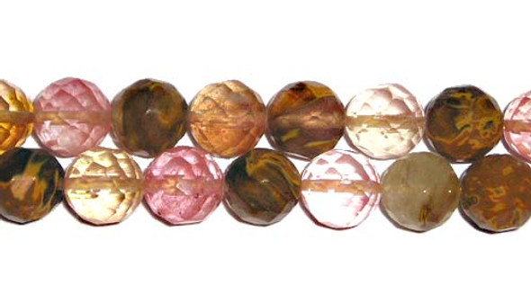6mm Fire cherry quartz faceted round beads