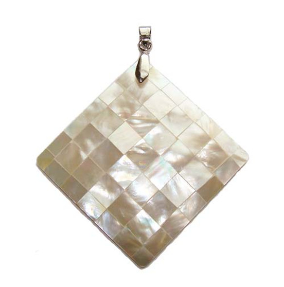 45x45mm Mosaic Mother Of Pearl Rhombus Pendant
