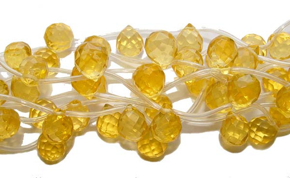 9x11mm 20 Beads Citrine Color Glass Faceted Briolettes