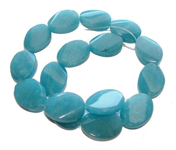 Dyed Sponge Quartz Smooth Twist Oval Beads 18x25mm 16 Inches Blue Sponge Quartz Smooth Twist Oval Beads