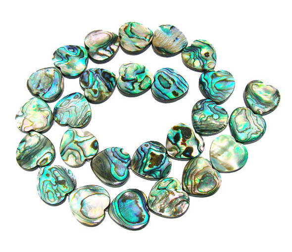 16mm  15.5 inches Double-sided abalone shell flat heart beads