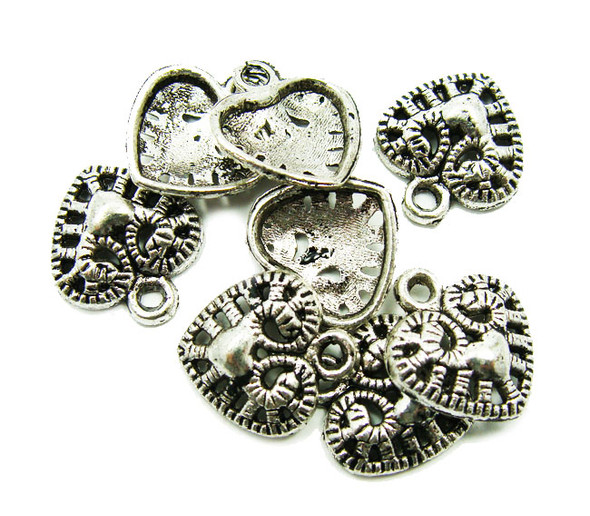 11x12mm  10 pieces Bali style pewter heart shaped charms