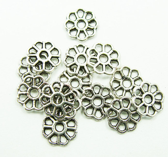 8mm  50 pieces Bali style pewter petal discs