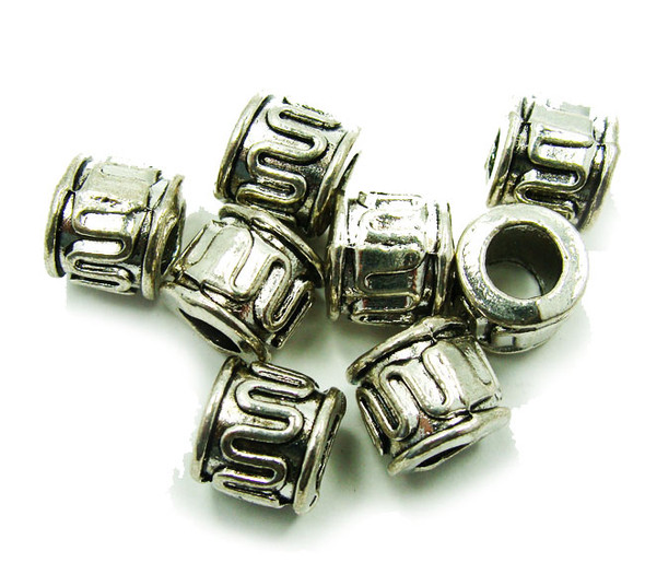 9x10mm  10 pieces Bali style pewter tube beads